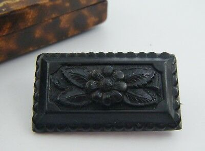 Antique C19th FRENCH Forget-Me-Not Jet Colour Bois Durci CAMEO Mourning Brooch!