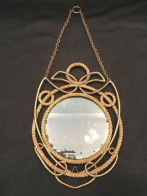 Antique Bronze & Brass Hanging English Mirror Circa1910 With Acanthus Leaf Wire