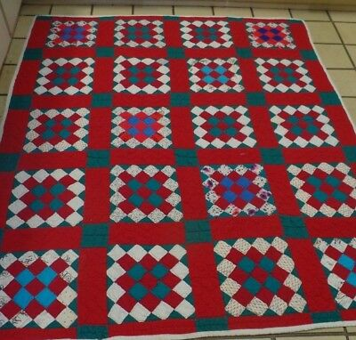 """Vintage Handmade Christmas Colors Patchwork Block Quilt 70"""" by 61"""""""