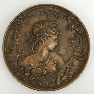 Antique 19thC Art Nouveau Victorian Bronze Figural Lady Woman Trivet Vanity Tray