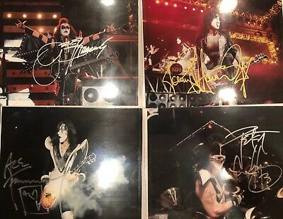 KISS Reunion Photos Originally Autographed By Gene, Paul, Ace And Peter