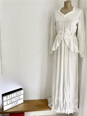 Incredible & Original  Art Deco Ivory Satin 1930's  Wedding Dress /gown