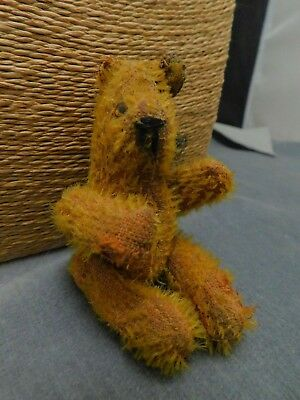 Antique Miniature Teddy Bear Glass Eyes Wire Jointed Mohair Bing? Steiff? Estate