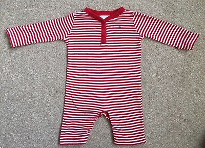 The Little White Company Boys Stripy Romper Age 3-6 Months