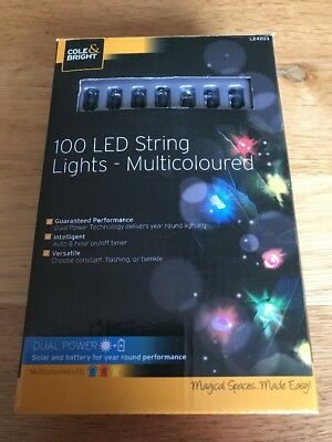 Cole & Bright 100 Solar LED String Lights - Multicoloured. Dual Power 11.89M