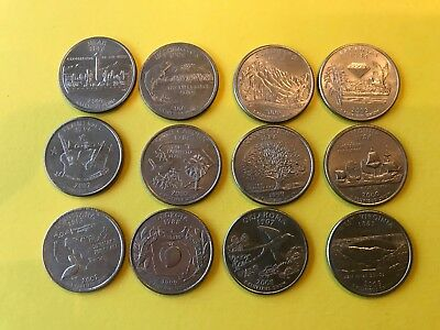 12 x US different State Quarter Dollar coins