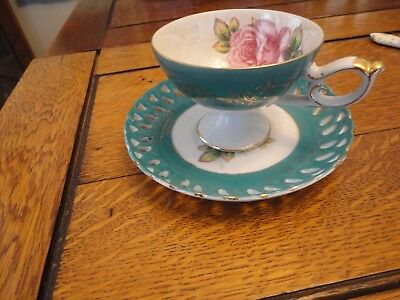 LM Royal Halsey Very Fine Vintage Teacup And Saucer Turquoise And Gold