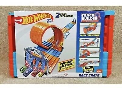 Hot Wheels Track Builder System Race Crate. 2 Cars Included. PopOut Raceway. NEW