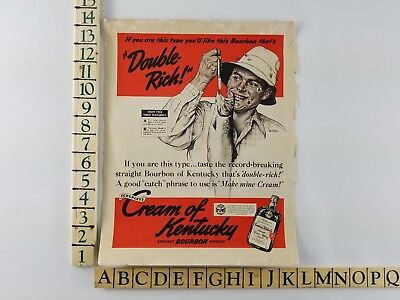 Vintage 1939 Cream of Kentucky Whiskey Bourbon Fishing Catch Magazine Print Ad