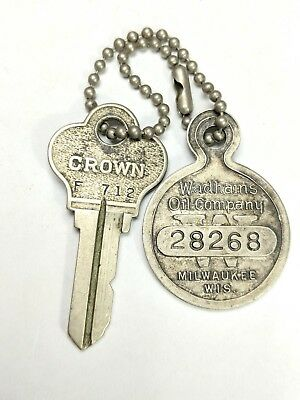 Antique Wadhams Oil Company Key Fob If Found Please Drop In Mailbox & Crown Key