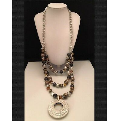 Premier Designs TOP NOTCH Beads/Crystals/Glass Gold & Silver Plated Necklace