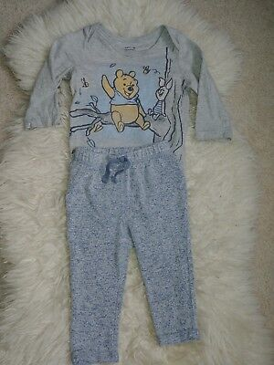 Winnie The Pooh Outfit - Baby One piece long sleeve and pants - 9 Months