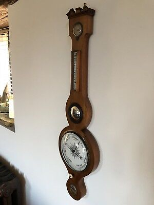 Antique Wheel Barometer . Victorian Mid 19th Century Mahogany Quality Barometer