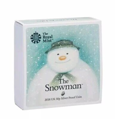 The Snowman 2018 Uk 50 Pence Coloured Silver Proof Coin Limited Edition Sold Out