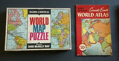 Vintage Rand McNally World Map Puzzle & Current Events World Atlas