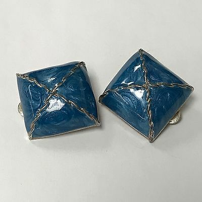 Vintage Blue Enamel And Gold Tone  Square Clip Earrings