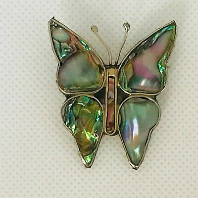 """Vintage Alpaca Mexico Silver Butterfly Abalone Shell Brooch 1 5/16"""""""