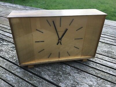 Vintage brass Jaeger Le Coultre mantle clock - battery / quartz movement