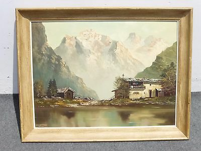 Beautiful Vintage Original Lake House Oil Painting Picture Signed K.Gatermann