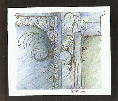 """Abstract Pencil Drawing """"Porch Entry"""" 6.5"""" x 7.75"""" Artist Signed Original #66"""