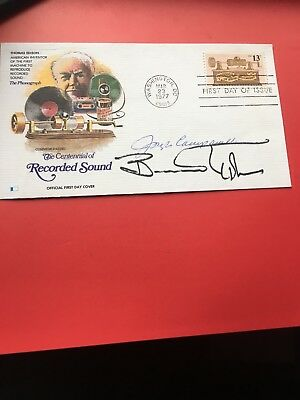 Vintage 1977 First Day Cover Signed By Actors Joseph Campanella & Bernard Hughes