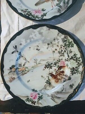 2 Antique Signed Hand Painted Asian Wall Plates  Early Meiji Tashio Rare