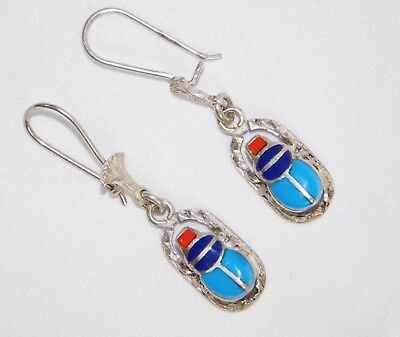Egyptian Scarab Solid Sterling Silver Stamped Handcraft French Wire Drop Earring
