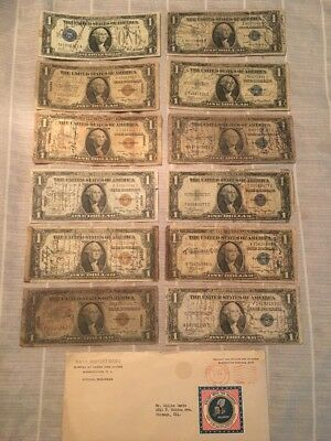 Rare Large Collection Of 12 WWII Short Snorters! World War 2 Soldiers Autograph!