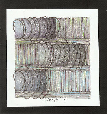 """Abstract Pencil Drawing """"Patchwork Fence"""" 6.5"""" x 6.0"""" Artist Signed Original #99"""