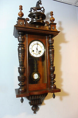 Antique Clock Antique Wall Clock Regulator Old German Clock Mahogany Wood