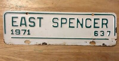 1971 East Spencer North Carolina City License Plate Topper Issue #637, NC