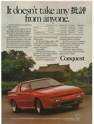 1987 PRINT AD Mitsubishi Conquest TSi red sport coupe Vintage Advertisement