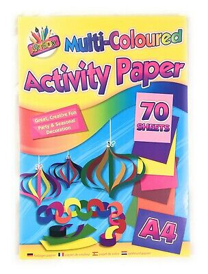 A4 Activity Paper 70 Sheets Multi Colours Crafts Art Stationary Children Adult