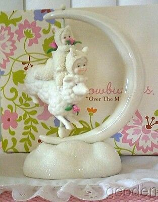 Dept 56 Snowbunnies Over The Moon Riding On A Lamb