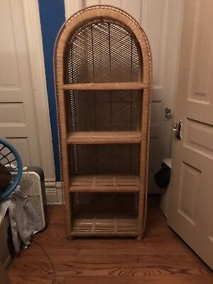 Vintage mid-century wicker bookcase/shelf [LOCAL PICKUP ONLY!]