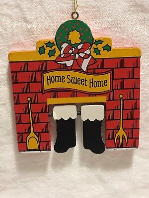 AVON Wood Wooden Home Sweet Home He's Here Movable Christmas Ornament