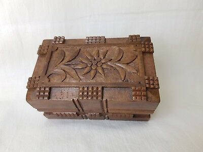 Vintage Black Forest Carved Wooden Secret Lock Box With Edleweiss Decoration