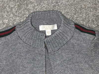 Gucci Grey Cardigan Authentic 100% Extra fine Lana Wool Age 9/12 Months Boys