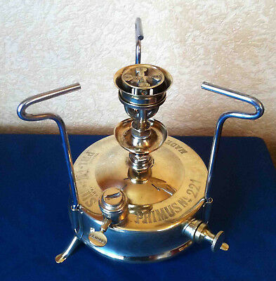 """Primus Stove 221 """"T"""" 1929 Burner # 26 Brass Camping Stove Made In Sweden"""