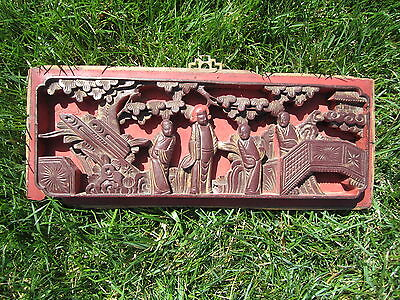 Antique Oriental Asian Chinese Carved Panel Scene elegant red & gold