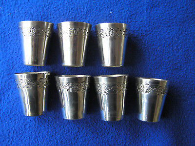 Seven sterling silver Mexican shot glassed by Sanborns 166 g