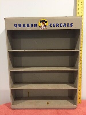 Antique Quaker Cereal Wall Mount Display Multiple Shelves-Grey Metal