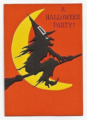 VINTAGE Ambassador 1950's HALLOWEEN Party Invitation Card WITCH flying past MOON