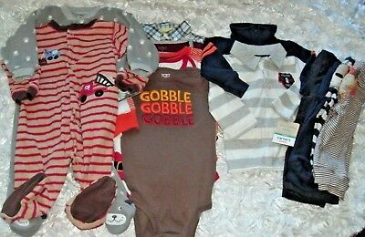 HUGE BABY BOY LOT OUTFITS Sz 9 M Holiday Fall Winter Sleep Play NWT + EUC Carter