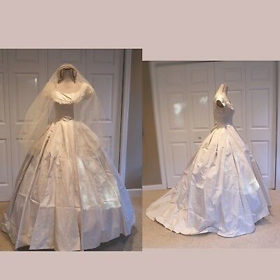 Vintage 1950's Ivory Off The Shoulder Wedding Ball Gown with Train & Vail