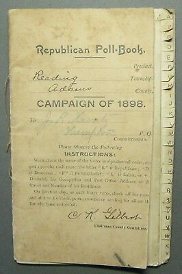 06 Republican Poll Book Reading Twp Hampton Pa 1898 With Instructions Gettysburg