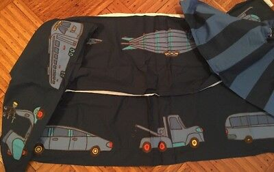 Land Of Nod NWOT Boys Navy Blue Patches Authority Transportation Crib Bed Skirt