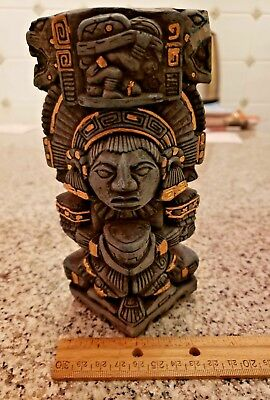Stone Carving Handcrafted Mayan Mexico Mexican Totem Pole