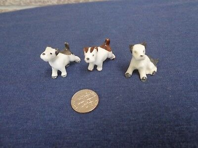 "3 Vintage Mini Ceramic White & Brown Terrier Dog Figurines,1"" T x 1""L, Germany"