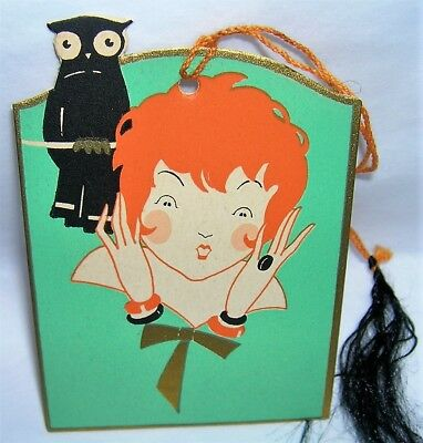 VINTAGE 1930's Gibson HALLOWEEN Party Tally Card OWL SCARES Orange Haired LADY